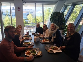 Kate having lunch with the Education and Special Education (P-S) research group