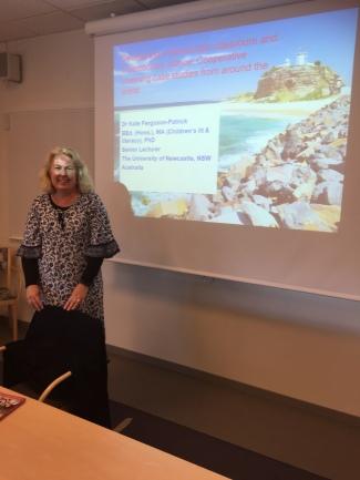 Kate presenting at Uppsala University, Sweden